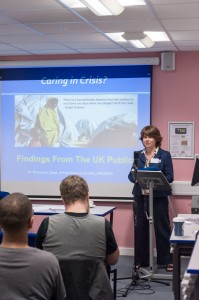 Dr Bruna Seu Orgad, Birkbeck, presenting the study findings at  the 'Caring in Crisis' colloquium.