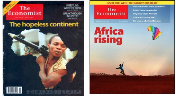 Front-page covers for The Economist in 2000 and 2011