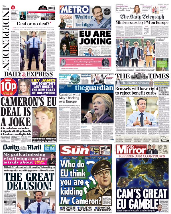 How the UK papers reported on Cameron's EU deal