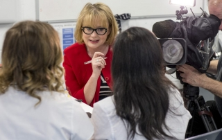 Branwen Jeffreys interviewing students at Sheffield University