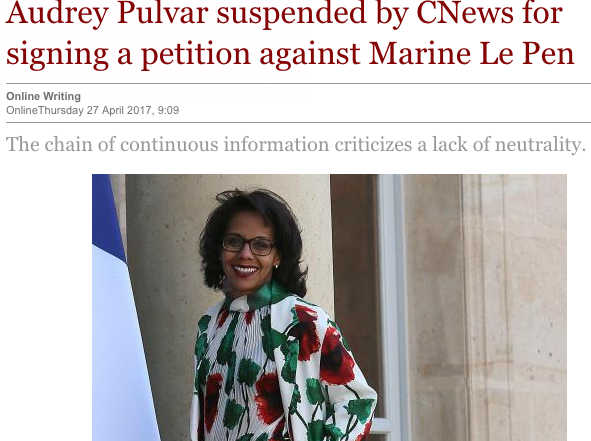 Politics Trumps Ethics : The case of a French TV anchor's suspension over an anti-FN op-ed