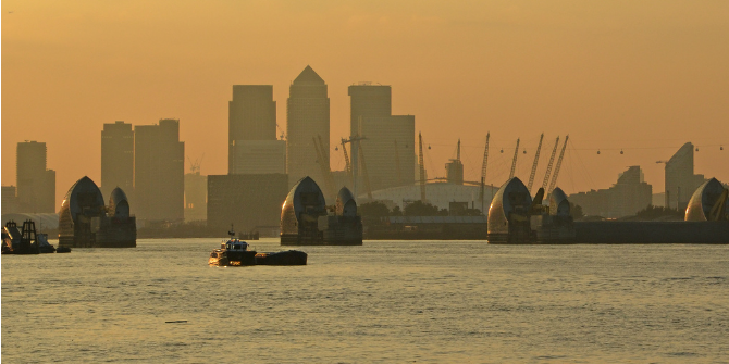 A view of London through the Thames Barrier