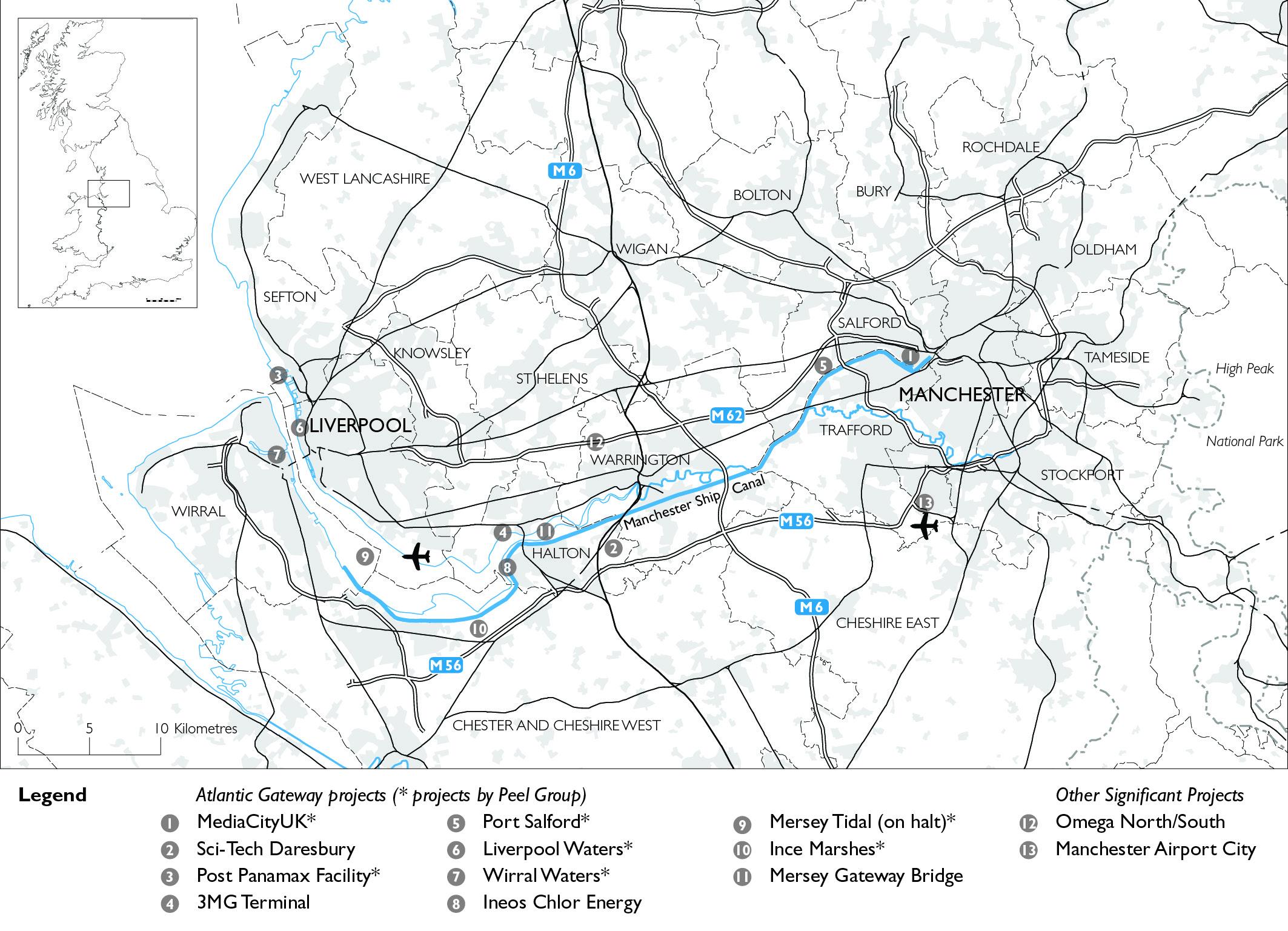 Manchester Liverpool Map - Dembski
