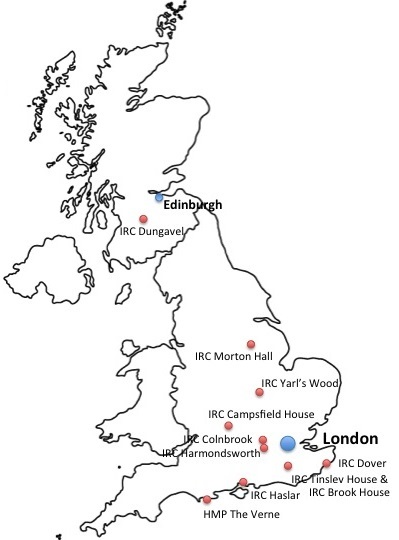 Map of Immigration removal centres