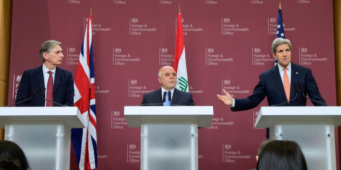 The Iraqi prime minister, Haider al-Abadi flanked by UK foreign secretary Philip Hammond and US secretary of state John Kerry