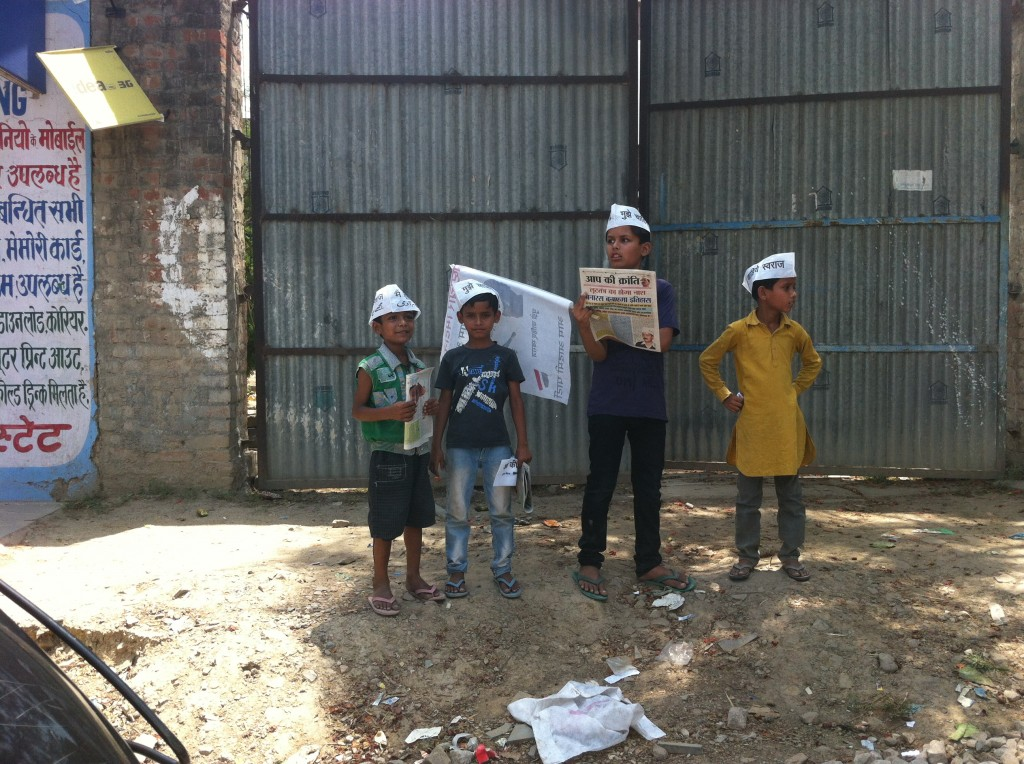 Young supporters of Aam Aadmi Party in Varanasi, May 10 2014
