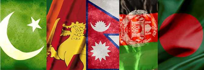 S Asian flags