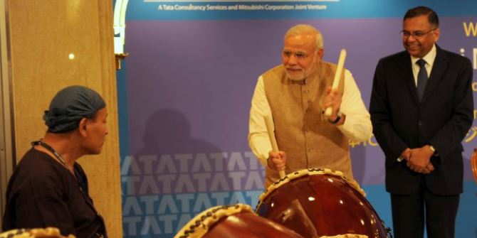 Narendra Modi PM plays drums on Japan visit CC BY-SA 2.0