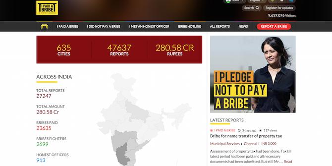 Screenshot of IPaidaBribe.com