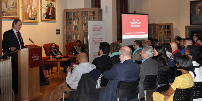 Mark Tully, Chair of the jury panel, begins the shortlist announcement in LSE's Shaw Library