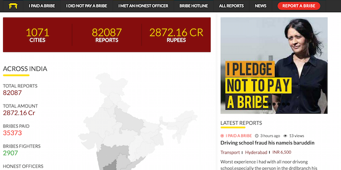 I Paid A Bribe: Using technology to fight corruption in India