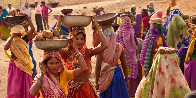 Women working on an NREGA site building a pond to assist in farming and water storage. Gopalpura, Jhabua, Madhya Pradesh. Credit: UN Women/Gaganjit Singh CC BY-NC-ND 2.0
