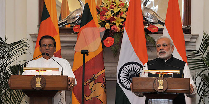 Maithripala Sirisena, President of Sri Lanka, and Narendra Modi, Prime Minister of India, speaking in 2015. Credit: Narendra Modi. CC BY-SA 2.0