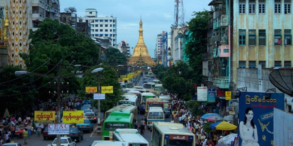 Image: Sule Paya Buddhist pagoda rises from the traffic in Yangon. Credit:McKay Savage CC BY 2.0
