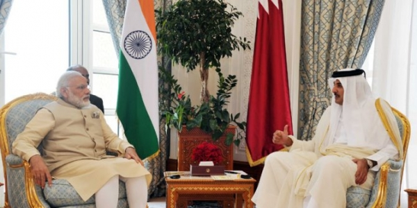 PM Narendra Modi meets the Emir of Qatar on a visit in 2016