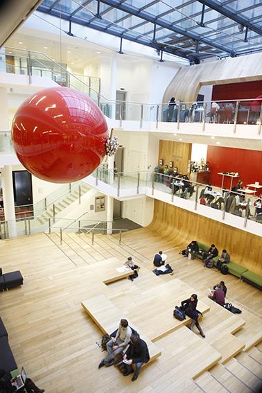 Joy Gerrard's sculpture Elenchus/Aporia in the centarl atrium of the LSE New Academic Building (NAB)