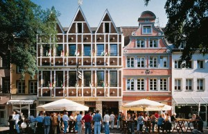 Düsseldorf under the sun- drop in for a pint of Altbier near the Rhein River. Source: http://www.hellomagazine.com/travel