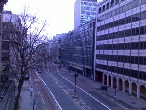 Deserted streets of London