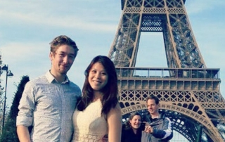 Clarissa in front of the Eiffel Tower