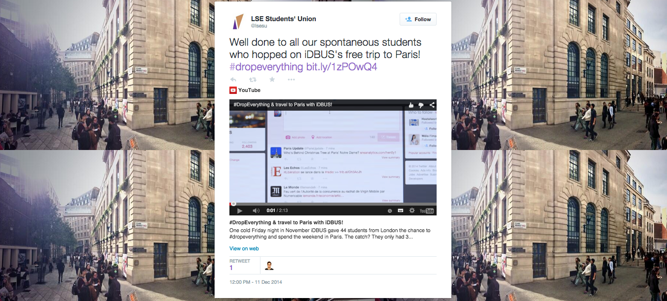 tweet from the LSE Students' Union