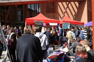 LSE student society stands in Sheffield Street during the London School of Economics Fresher's Fair 2015
