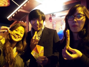 My friends and I enjoying some freshly made churros! Do bring some tissues to clean your hands after