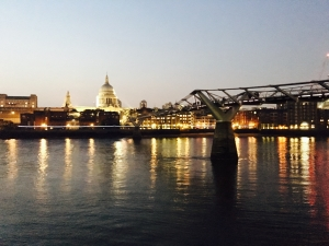 View of Millennium Bridge and St. Paul's Church from the South Bank