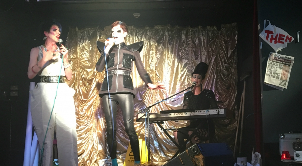 David Hoyle singing 'The Power of Love' with Bourgeois and Maurice