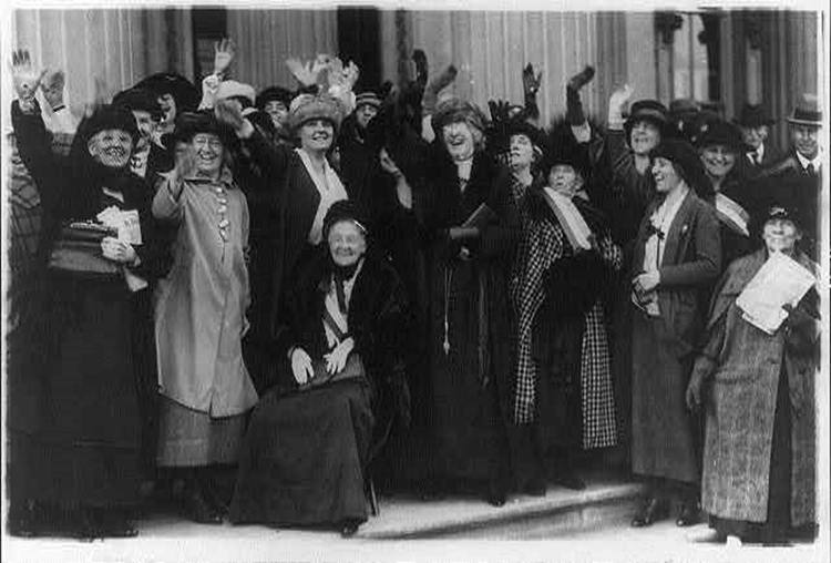 Mrs. Rebecca L. Felton being greeted by prominent political women in Washington, D.C., November 20 1922. Public domain via the Library of Congress.