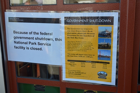 Alcatraz in San Francisco closed on first day of government shutdown Credit: Steve Rhodes (Creative Commons BY NC ND)
