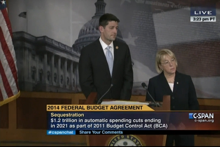 Democratic Senator Patty Murray and Republican Representative Paul Ryan present budget agreement at press conference on 10 December Credit: C-SPAN