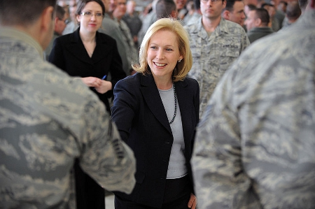 Sen. Kirsten Gillibrand meets members of the 106th Rescue Wing, Westhampton Beach, NY. By Senior Airman Christopher Muncy [Public domain], via Wikimedia Commons