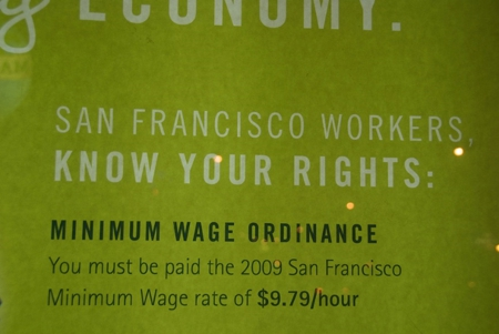 Minimum wage sign