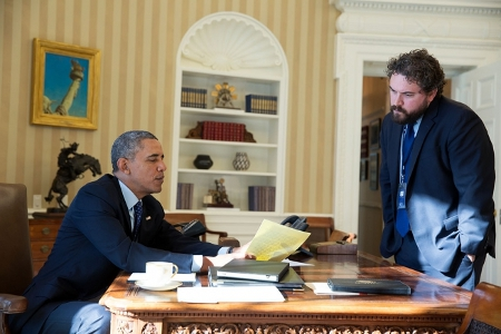 President Barack Obama works on his State of the Union address with Director of Speechwriting Cody Keenan in the Oval Office, Jan. 22, 2014. (Official White House Photo by Pete Souza)