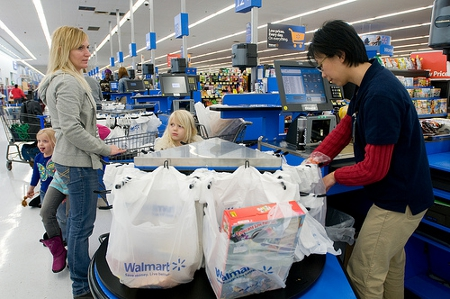 Wal-mart is one of the largest minimum wage employers in the US Credit: Walmart Corporate (Creative Commons BY)
