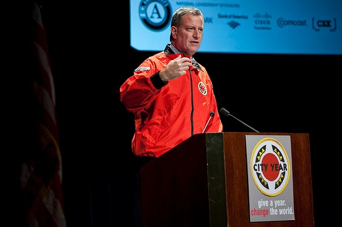 New York City Mayor Bill de Blasio speaking to City Year, an education focused non-profit. Photo Credit: City Year (Creative Commons: BY-NC-ND 2.0)