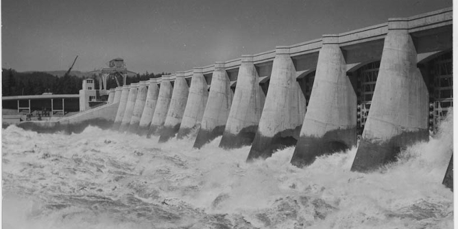 """Benneville Power Dam, Columbia River, Oregon.  Spillway.""""  US Army Corps of Engineers. Credit: Franklin D. Roosevelt Presidential Library & Museum"""