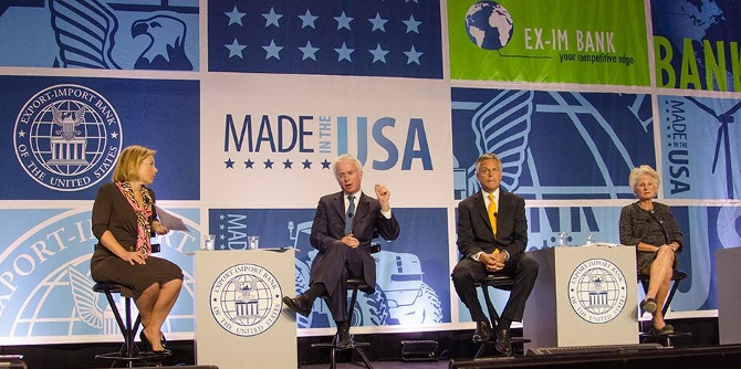 During #EXIMConf2014 panel on Global Challenges and Trends in April, @JonHuntsman & Jane Harman discuss US economic strength. Credit: @EximBankUS