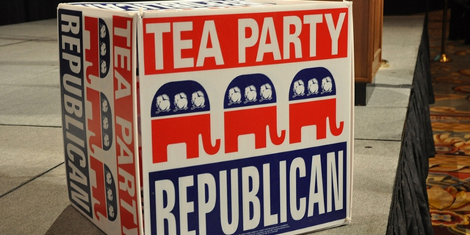 The Tea Party's presence in primaries benefits the general election result in the Republican Party's favor.
