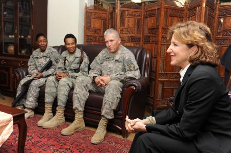 Senator Kay Hagan visits Camp Eggers  KABUL, 2010, (U.S. Air Force photo/Senior Airman Matt Davis) Credit: NATO Training Mission-Afghanistan (Flickr, CC-BY-SA-2.0)