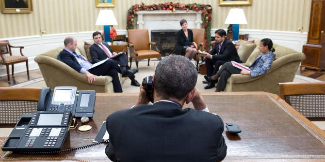 President Barack Obama talks with President Raúl Castro of Cuba from the Oval Office, Dec. 16, 2014. (Official White House Photo by Pete Souza)