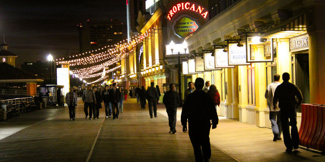 Boardwalk at Night Outside the Tropicana Casino - Atlantic City, NJ Credit: Chris Goldberg (Flickr, CC-BY-NC-2.0)