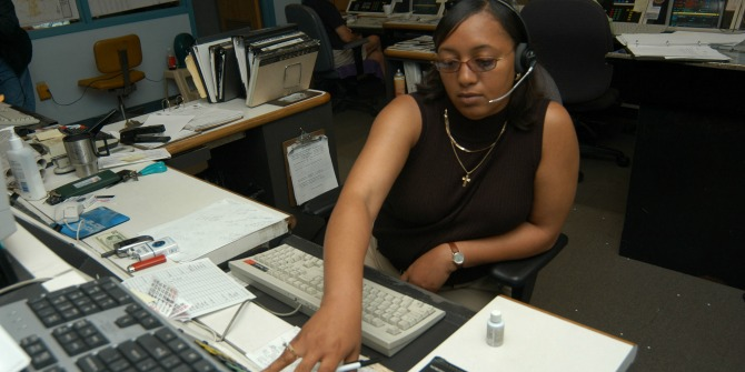 Jackson, TN, May 14, 2003. An operator takes a call at the Jackson 911 Dispatch Center. Photo by Mark Wolfe/FEMA News photo.