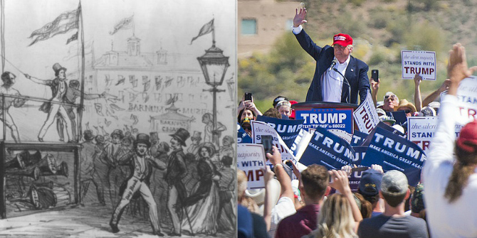 (L) Parody of Jenny Lind's first American tour for P.T. Barnum, New York City, October 1850 (R) Donald Trump Credit: By W. Schaus [Public domain], via Wikimedia Commons, ed ouimette (Flickr, CC-BY-SA-2.0)
