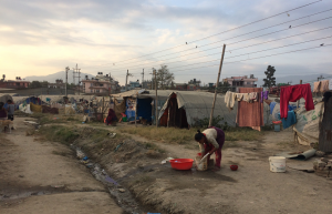 Temporary settlement of the people displaced by the devastating earthquake in April 2015
