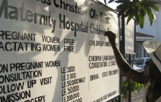 sign for a maternity hospital in Sierra Leone